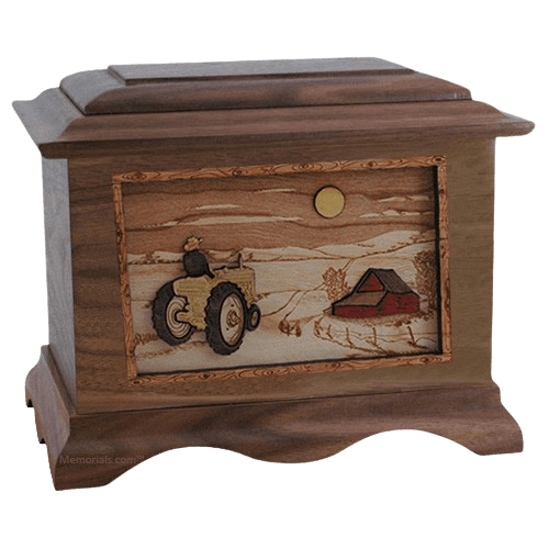 Tractor & Moon Walnut Cremation Urn