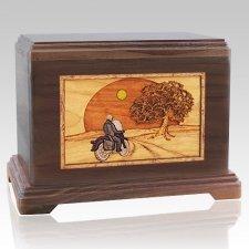 Motorcycle & Moon Walnut Hampton Cremation Urn