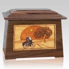 Motorcycle & Moon Walnut Aristocrat Cremation Urn