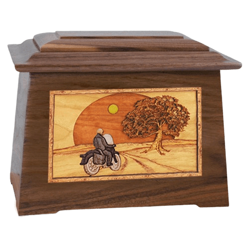 Motorcycle & Moon Walnut Aristocrat Cremation Urn