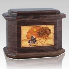 Motorcycle & Moon Walnut Octagon Cremation Urn