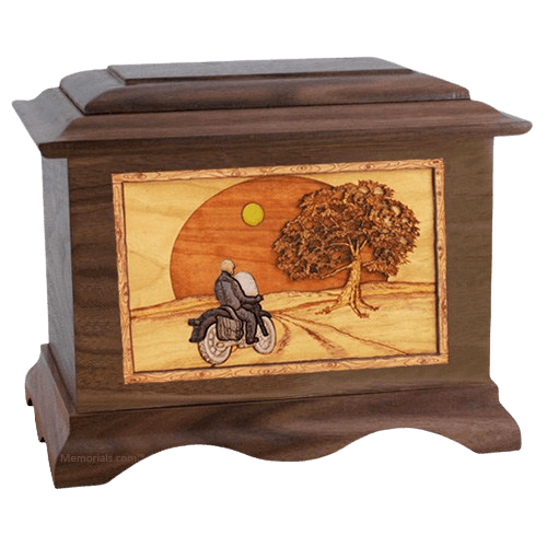 Motorcycle & Moon Wood Cremation Urns