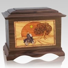Motorcycle & Moon Walnut Cremation Urn