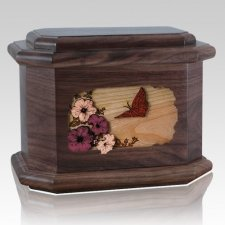 Butterfly Walnut Octagon Cremation Urn