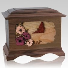 Butterfly Walnut Cremation Urn