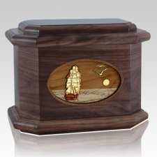 Sailing Home Walnut Octagon Cremation Urn