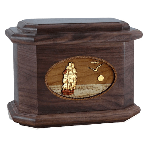 Sailing Home Walnut Octagon Cremation Urn