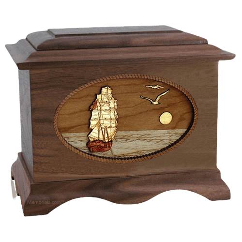 Sailing Home Walnut Wood Cremation Urn
