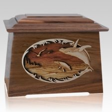 Whale & Calf Walnut Aristocrat Cremation Urn