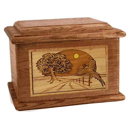 Pheasant Walnut Memory Chest Cremation Urn