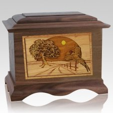 Pheasant Walnut Cremation Urn