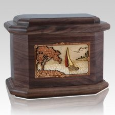 Sailboat Walnut Octagon Cremation Urn
