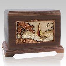 Sailboat Walnut Hampton Cremation Urn