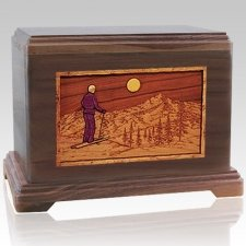 Skiing Walnut Cremation Urn For Two