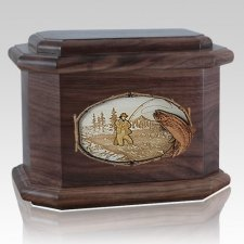 Fly Fishing Walnut Octagon Cremation Urn