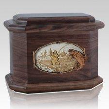 Fly Fishing Walnut Octagon Cremation Urn