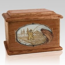 Fly Fishing Walnut Memory Chest Cremation Urn