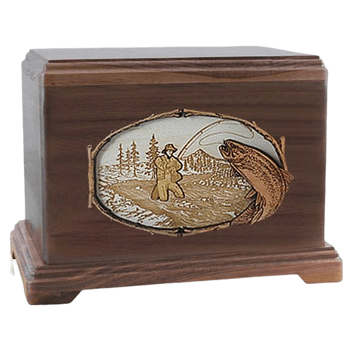 Fly Fishing Walnut Hampton Cremation Urn
