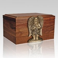 Angel Figurine Wood Cremation Urn