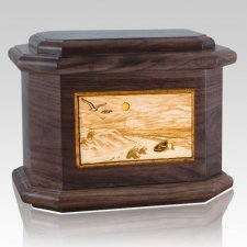 Walking on the Beach Walnut Octagon Cremation Urn
