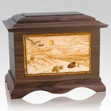 Walking on the Beach Wood Cremation Urns