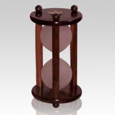 Hourglass Pillar Walnut Pet Urn