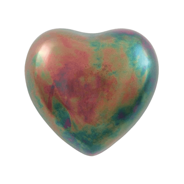Watercolor Raku Heart Keepsake Urn