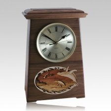 Whale and Calf Astoria Clock Walnut Cremation Urn