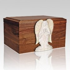 White Angel Figurine Wood Cremation Urn