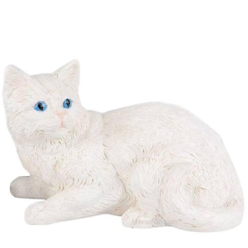 White Kitty Cremation Urn