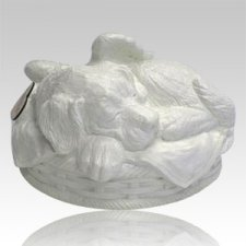 Angel Dog Cremation Urn White