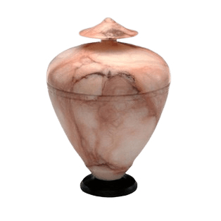 White & Pink Alabaster Infant Urn