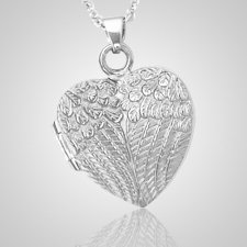 Wing Heart Locket Keepsake Pendant