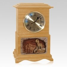 Wolfs Clock Oak Cremation Urn