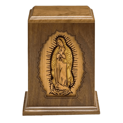 Lady of Guadalupe Wood Cremation Urn
