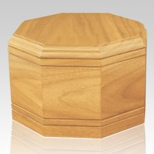 Octagon Oak Wood Cremation Urn