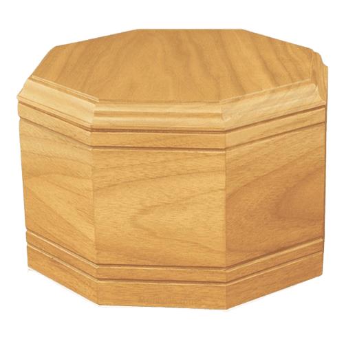 Octagon Oak Wood Cremation Urn