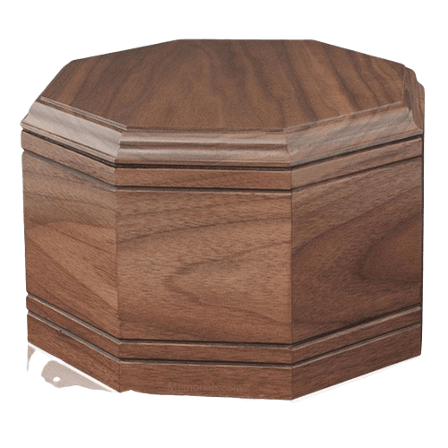 Octagon Walnut Wood Cremation Urn