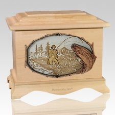 Fly Fishing Maple Cremation Urn