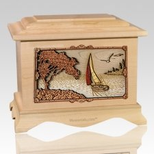 Sailboat Maple Cremation Urn