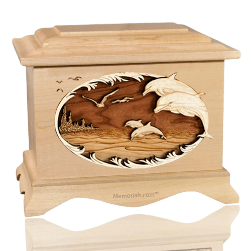 Dolphins Maple Cremation Urn