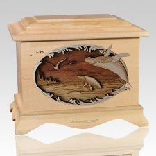 Whale & Calf Maple Cremation Urn