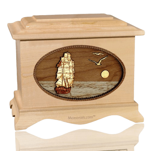 Sailing Home Maple Wood Cremation Urn