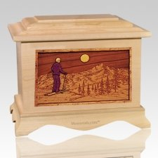Skiing Maple Cremation Urn