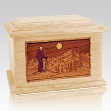 Skiing Maple Memory Chest Cremation Urn