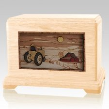 Tractor & Moon Maple Hampton Cremation Urn