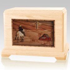 Horse & Cross Maple Cremation Urn For Two