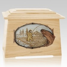 Fly Fishing Maple Aristocrat Cremation Urn