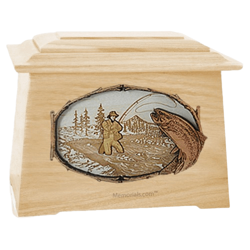 Fly Fishing Maple Aristocrat Cremation Urn