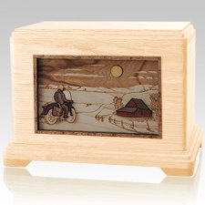 Motorcycle & Moon Maple Cremation Urn For Two